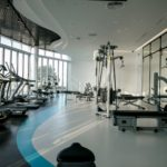 Exercise in a fitness area with panoramic views of the city